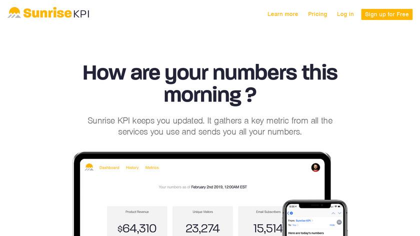 Sunrise KPI Landing Page