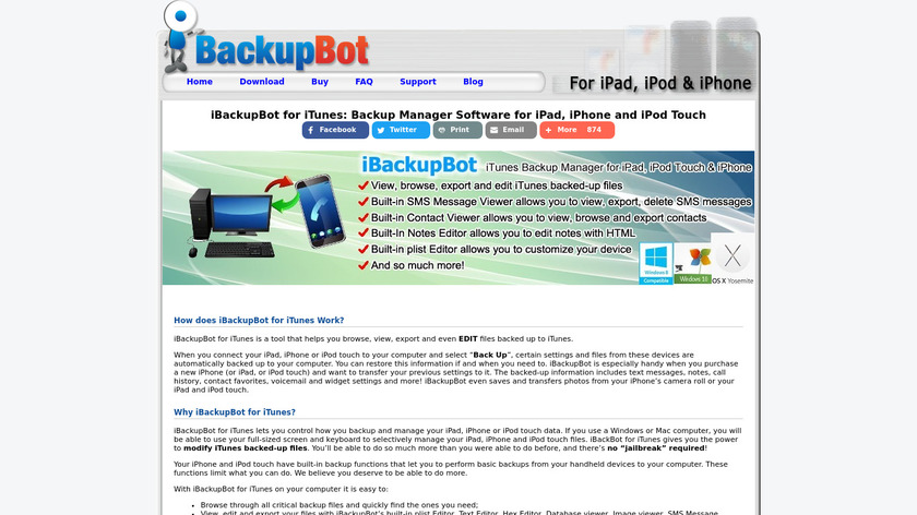 iBackupBot for iTunes Landing Page