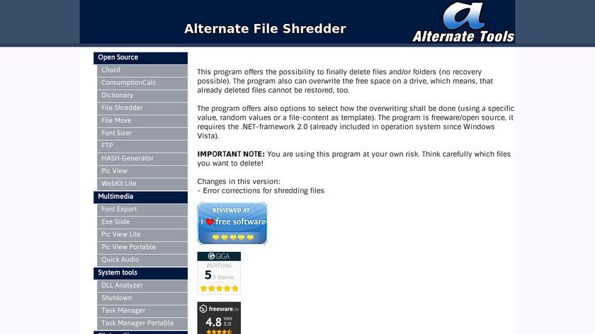Alternate File Shredder Landing Page