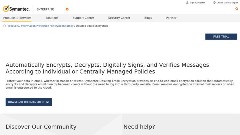 Symantec Desktop Email Encryption Landing Page