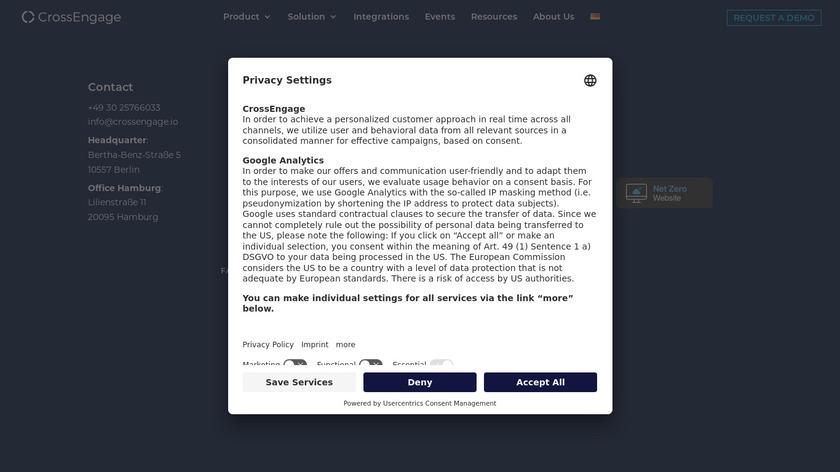 CrossEngage Landing Page