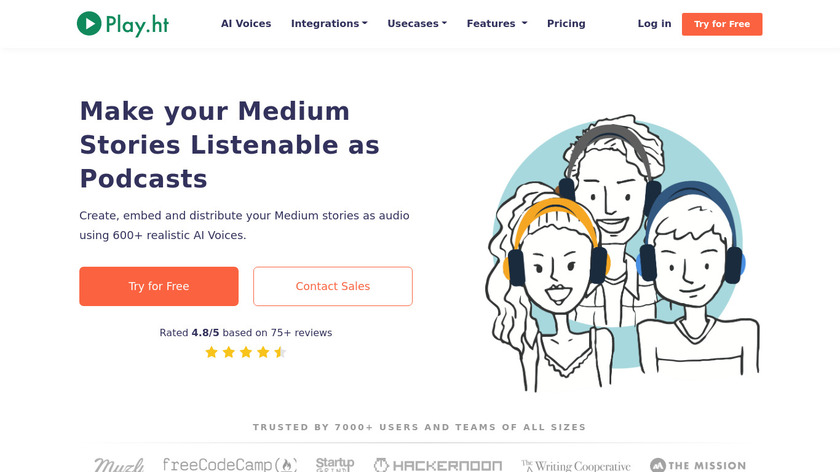 Play for Medium writers Landing Page