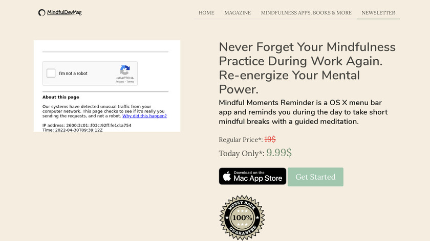 Mindful Moments Reminder Landing Page