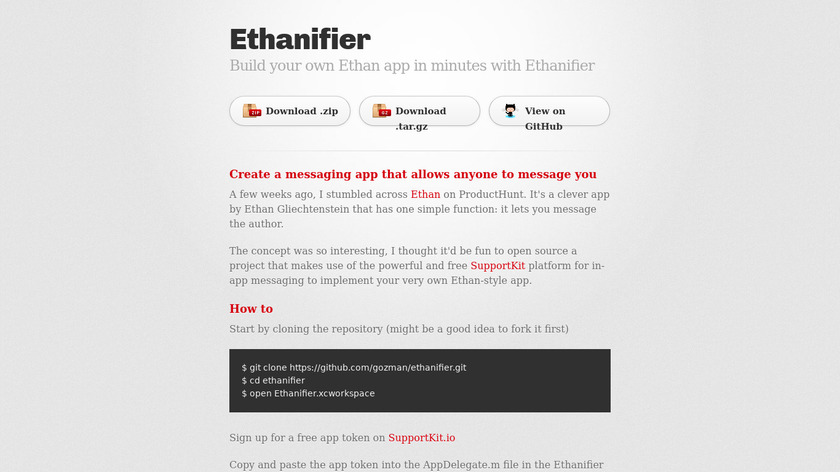 Ethanifier Landing Page