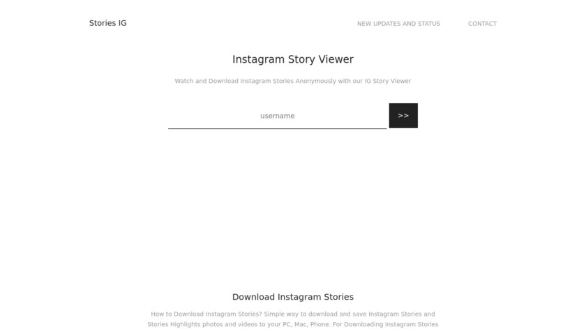 Storiesig Landing Page