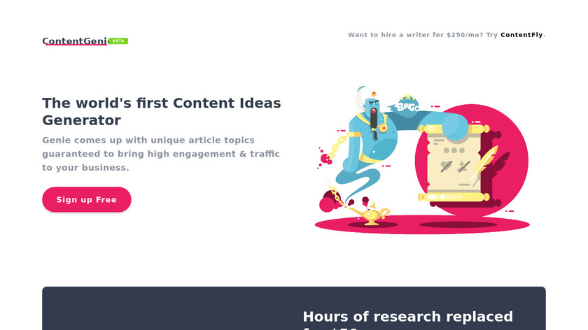 Content Genie by ContentFly Landing Page