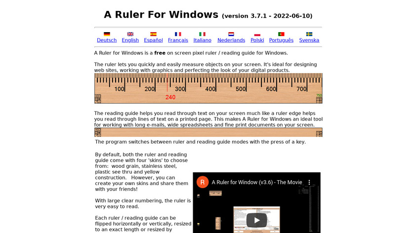 A Ruler for Windows Landing Page