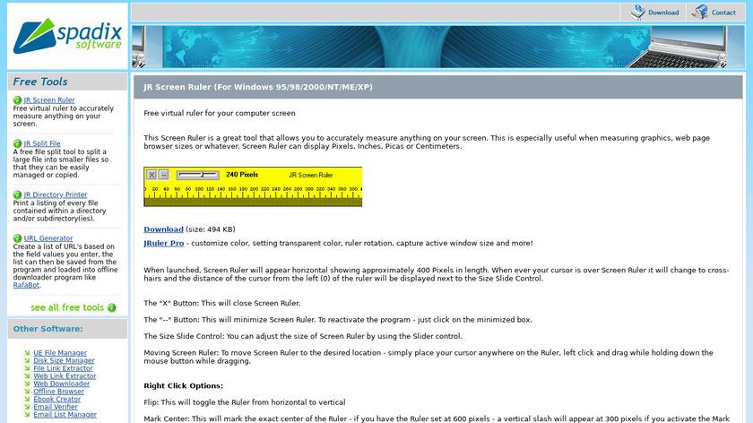 JR Screen Ruler Landing Page