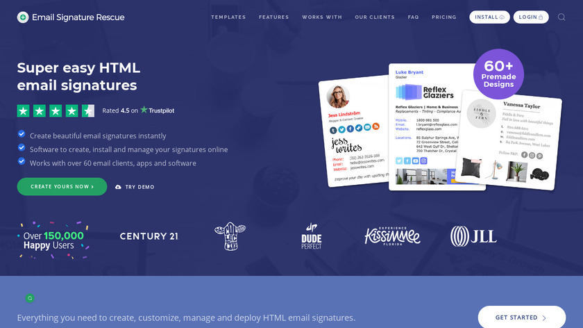 Email Signature Rescue Landing Page