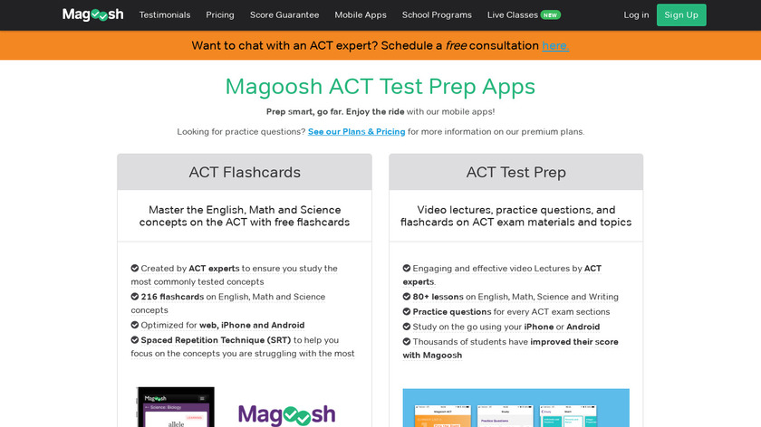 ACT Flashcards from Magoosh Landing Page