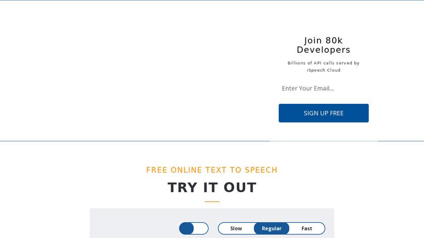iSpeech Landing Page