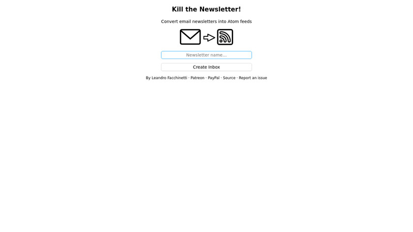Kill the Newsletter! Landing Page