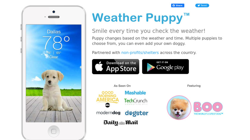 Weather Puppy App Landing Page