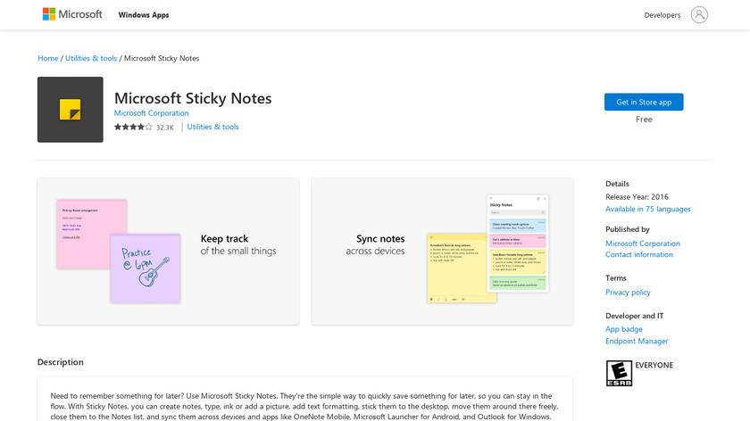 Microsoft Sticky Notes Landing Page