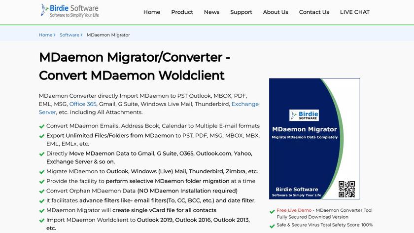 Birdie MDaemon Migrator Landing Page