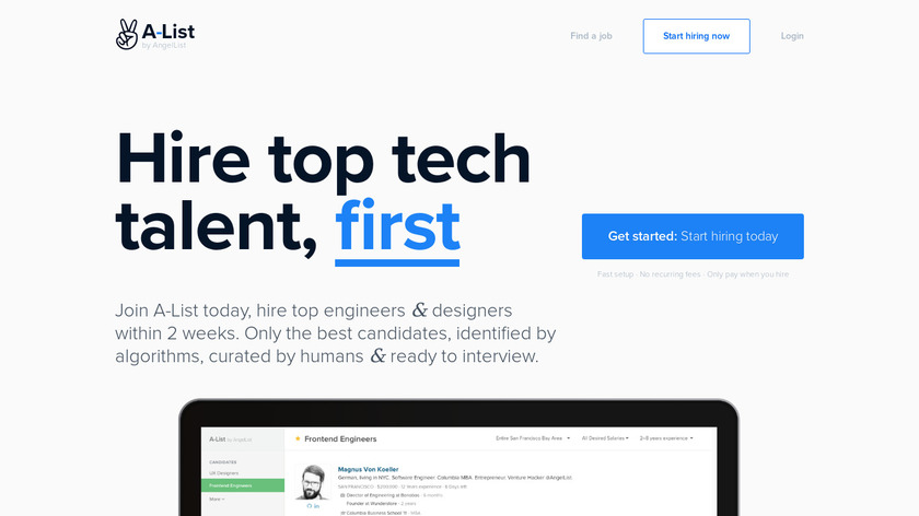 A-List by AngelList Landing Page