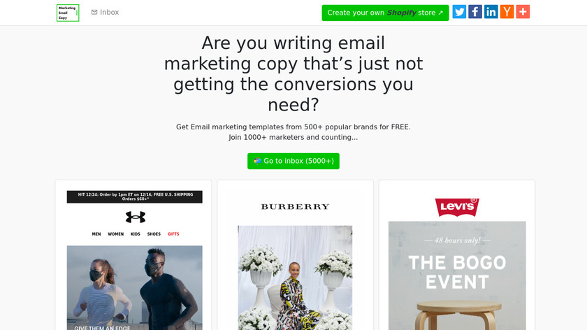 Free Marketing Email Copy Landing Page