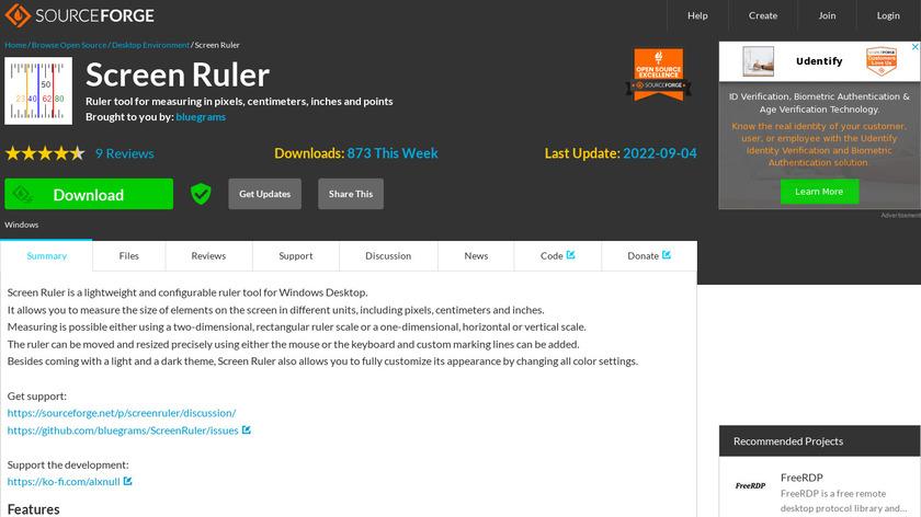 Bluegrams Screen Ruler Landing Page