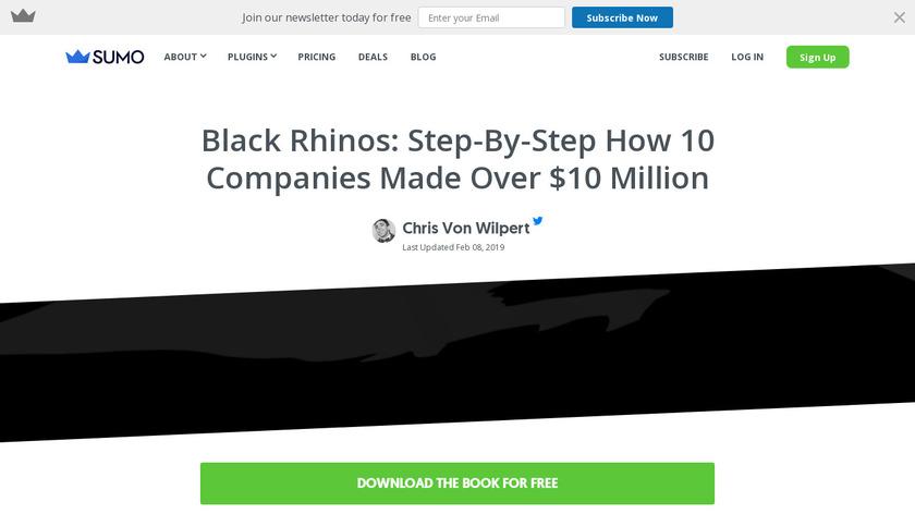 Black Rhinos by Sumo Landing Page
