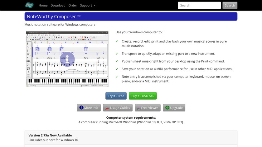 NoteWorthy Composer Landing Page