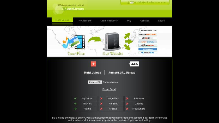 uploadmirrors Landing Page