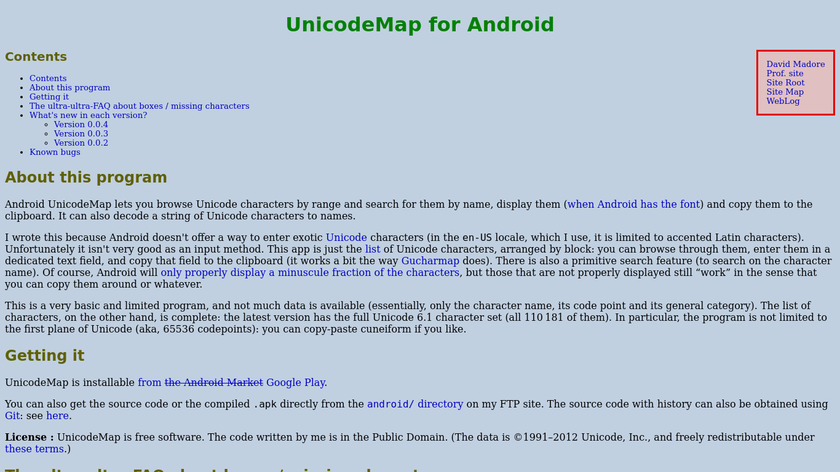 Unicode Map Landing Page