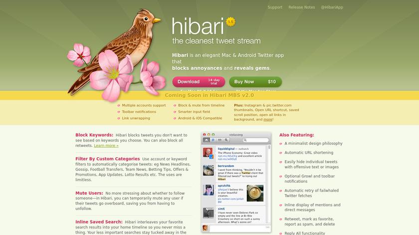 Hibari Landing Page