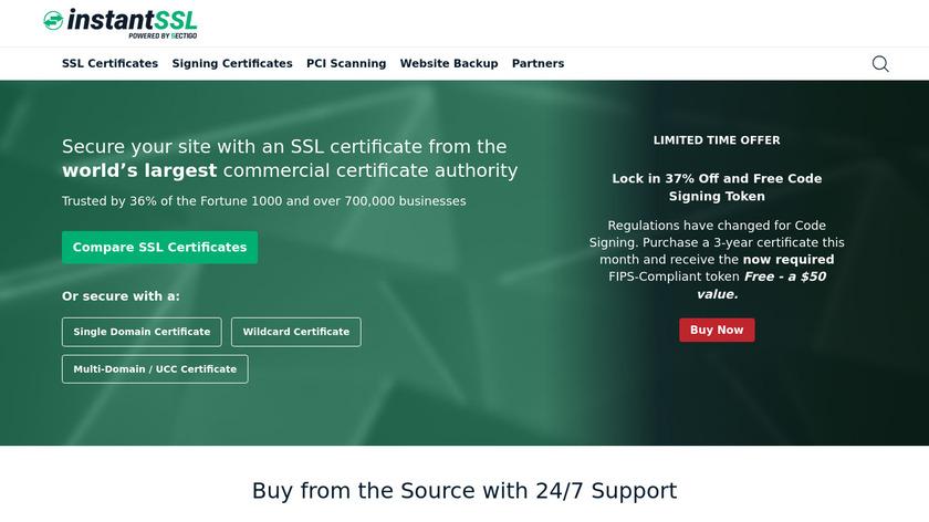 InstantSSL Landing Page
