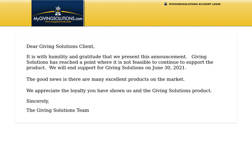 MyGIVINGSOLUTIONS.com Landing Page