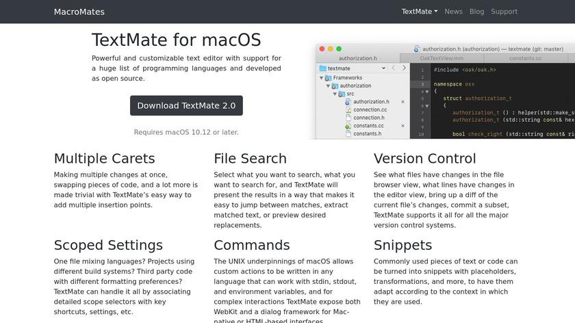 Textmate Landing Page