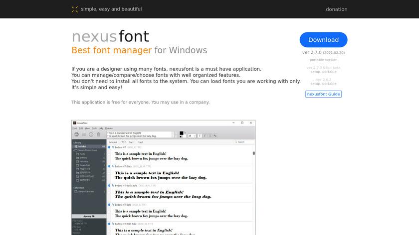 NexusFont Landing Page