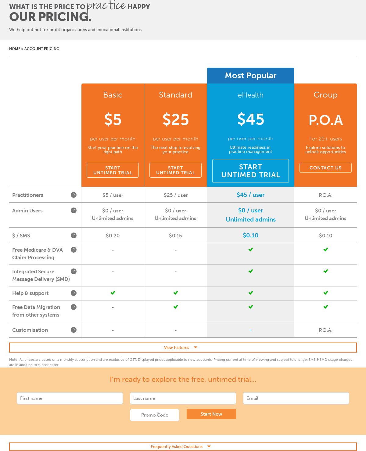 CorePlus Pricing as of 2018-09-25