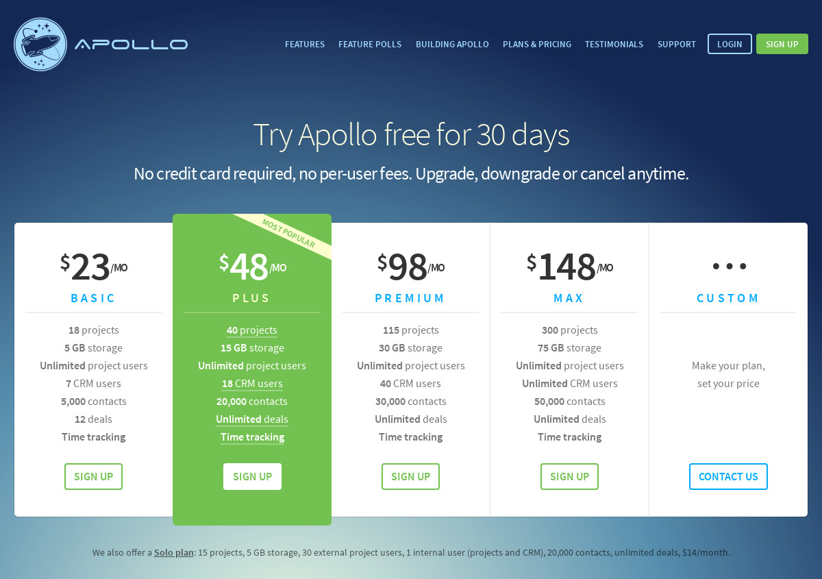 Apollo Pricing as of 2018-09-25