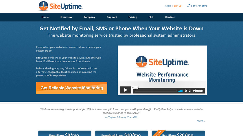 SiteUptime Landing Page