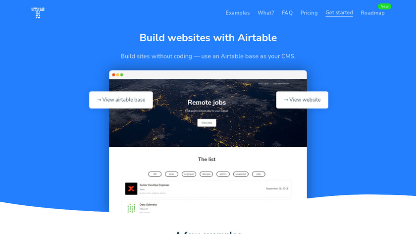 Table 2 Site Landing Page