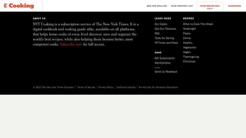 NYT Cooking Landing Page