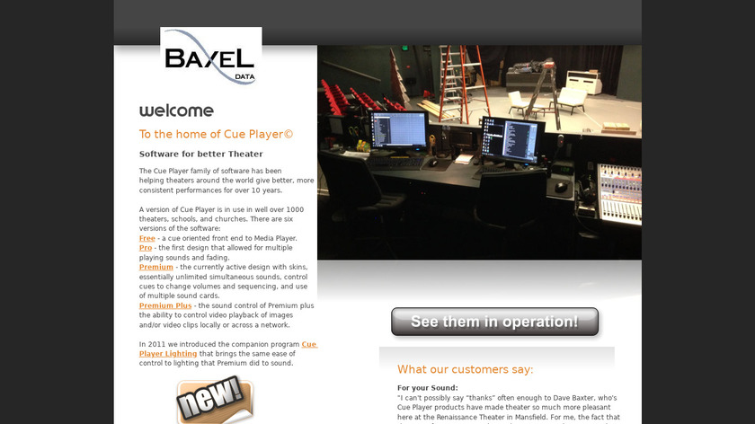 Cue Player Landing Page