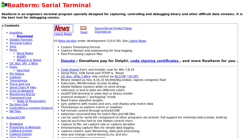 RealTerm Landing Page