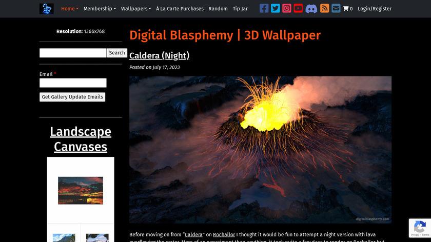 Digital Blasphemy Landing Page