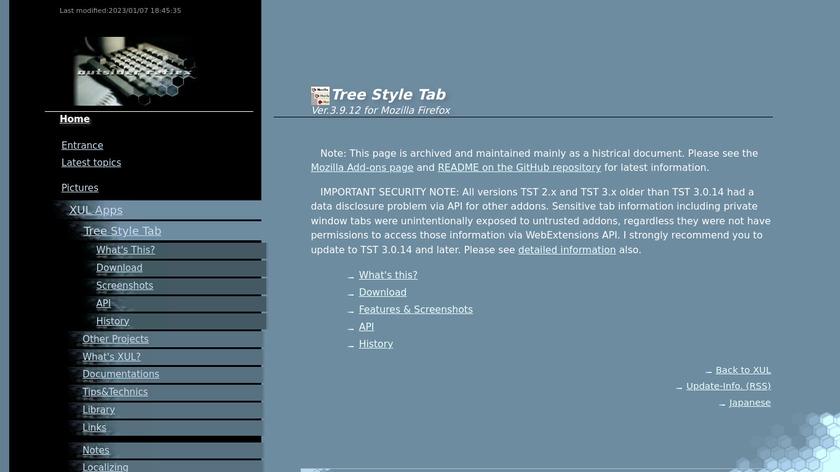 Tree Style Tab Landing Page