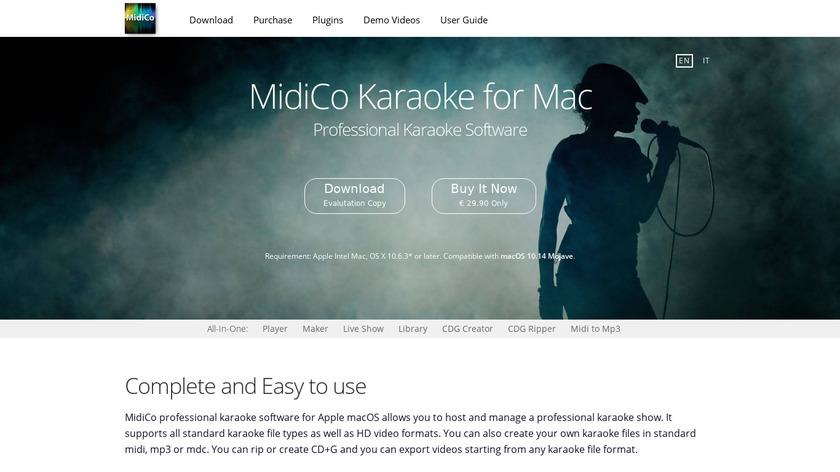 MidiCo Karaoke Landing Page