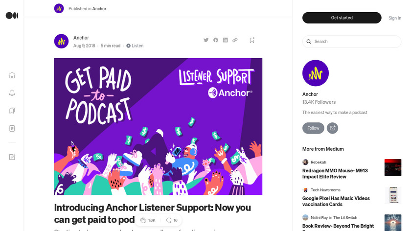 Listener Support by Anchor Landing Page