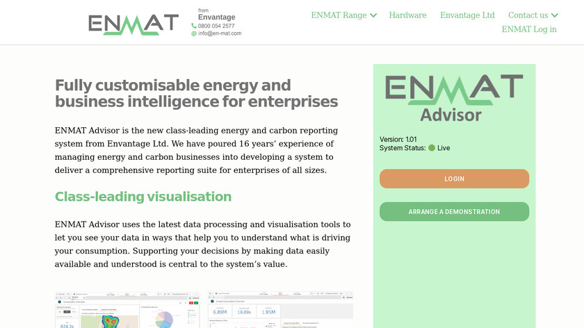 ENMAT Energy Management Landing Page