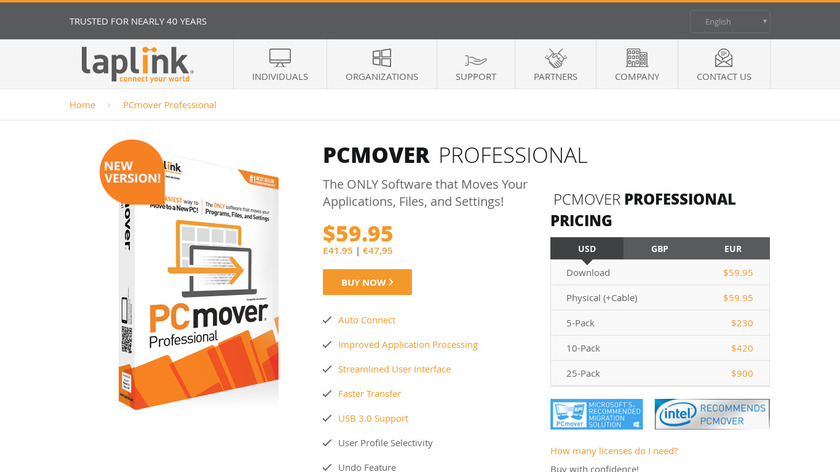 PCmover Landing Page