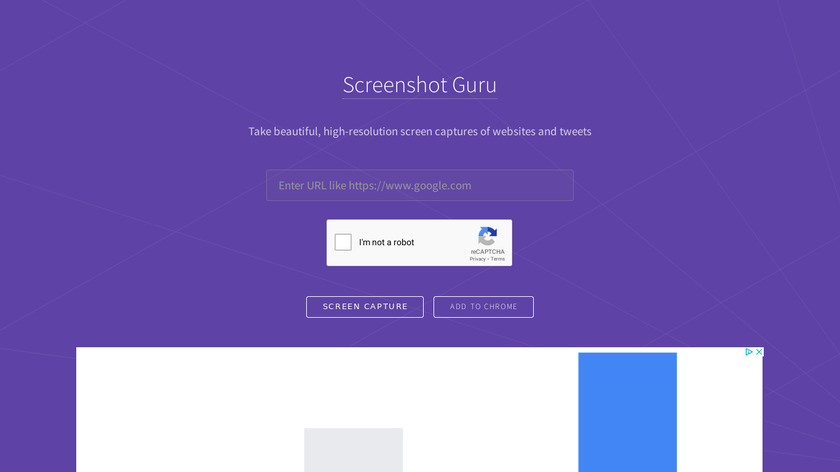 Screenshot Guru Landing Page