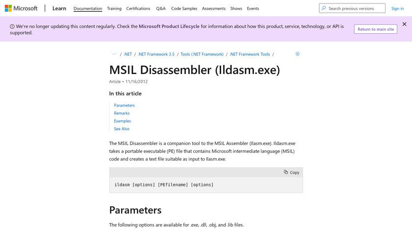 MSIL Disassembler Landing Page