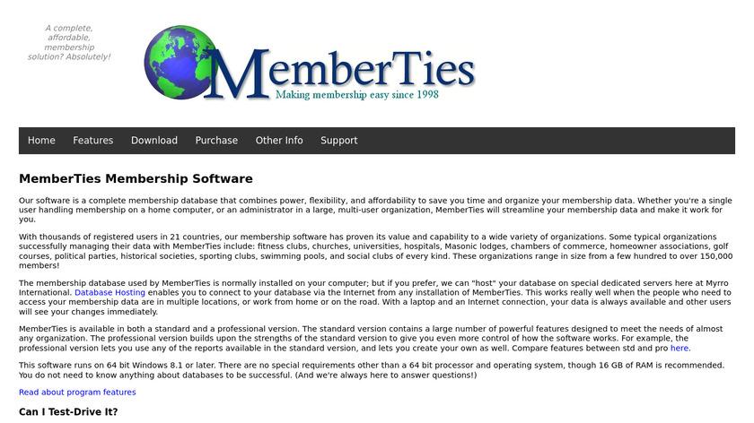 MemberTies Landing Page