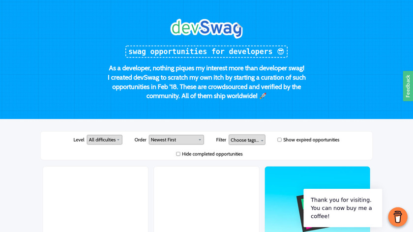 Swag for Dev Landing Page
