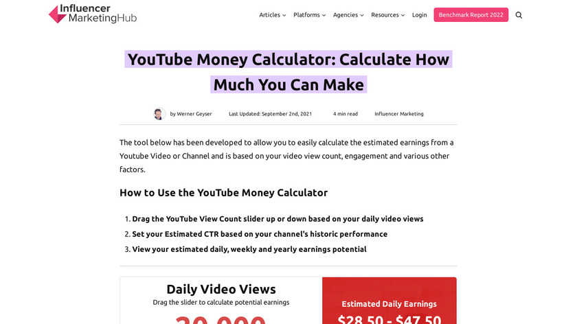 YouTube Money Calculator Landing Page
