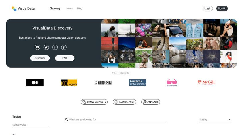 VisualData Landing Page